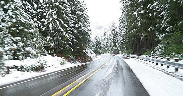 Stock photo of a winter highway road