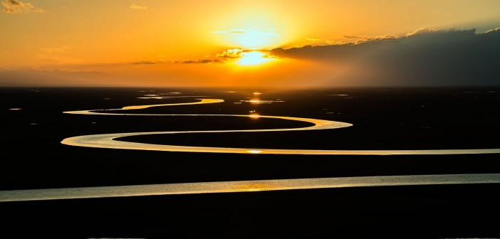 Stock photo of a giant, winding river