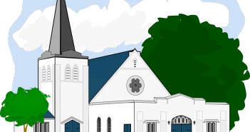 Clip art of a big, white country church