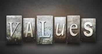 The word VALUES written in vintage letterpress type