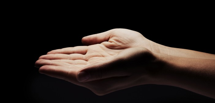 Stock photo of an empty, outstretched hand