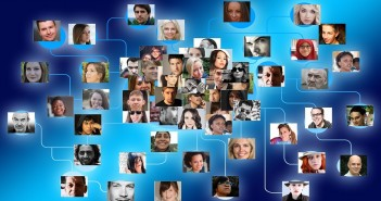 Stock photo of a bunch of portraits of people who are all connected