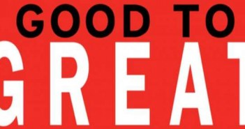 "Bumper sticker sized image that says ""GOOD TO GREAT"" with ""GOOD TO"" in black text and ""GREAT"" in white text amidst a red background"