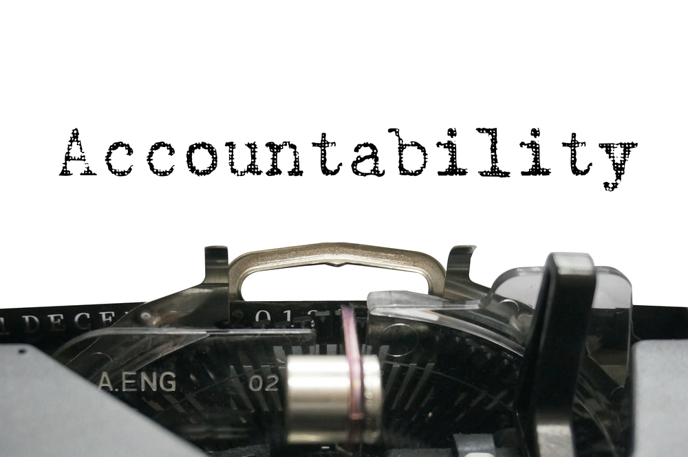 "Image of the word ""Accountability"" written on a typewriter"