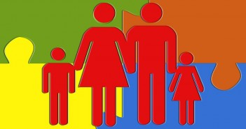 Clip art of a family with a mom, dad, son, and daughter