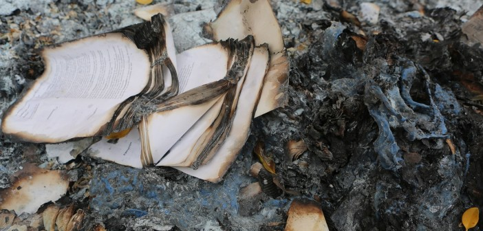 Stock photo of a book that has been burned