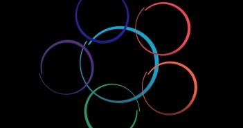 Clip art of six interlocking, multi-colored circles
