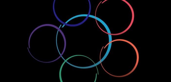 Clip art of six interlocking, multi-colored circles