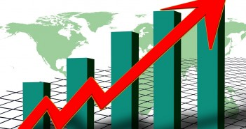 Clip art of a bar graph that shows an upward trend