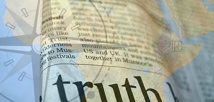 """Collage of an atlas with a dictionary entry for """"truth"""" overlain on top of it"""