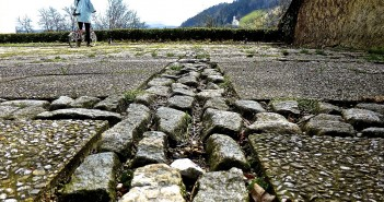 Stock photo of a cobblestone road