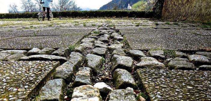 Stock photo of a cobblestone road