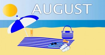 "Clip art of a sunny beach with the word ""AUGUST"" printed in the sky"