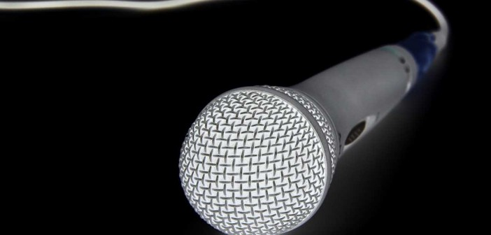 Stock photo of a wired microphone