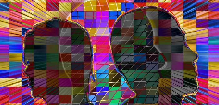 Psychedelic image of silhouettes amidst a multi-colored checkerboard
