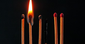 Stock photo of six matches with various levels of lit