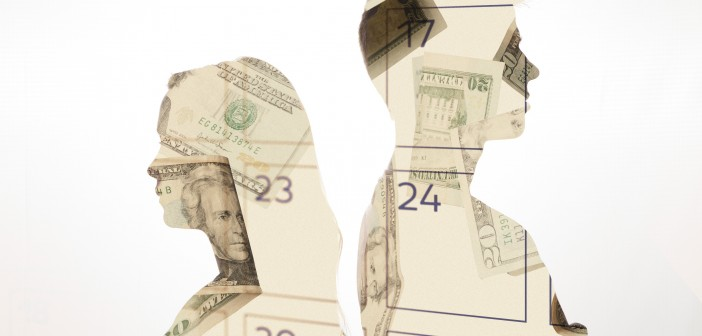 Clip art of a male and female silhouette profile with images of money in the silhouette