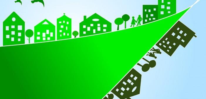 Clip art of a green city skyline