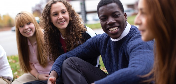 Stock photo of a mixed gender and race group of youth in fellowship outside
