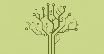 Clip art of a tree formed out of a circuit board