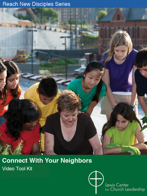Connect with Your Neighbors Video Tool Kit cover featuring an adult teaching a group of kids to garden