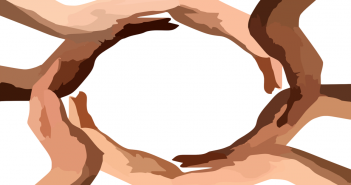 Clip art of multi-racial hands forming a circle