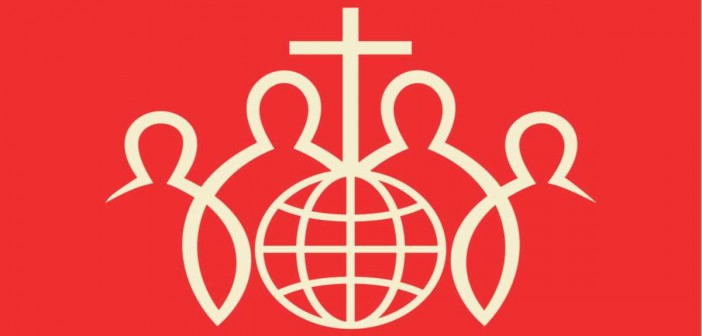 Clip art of a group of individuals surrounding a globe with a cross on the top of it