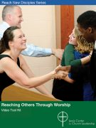 Reaching Others through Worship Video Tool Kit cover featuring smiling people shaking hands and hugging during a church service