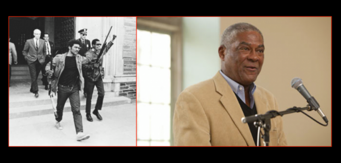 Side-by-side photo of civil rights leader Thomas W. Jones: the image on the left is of him leading a walkout with a raised clenched fist and armed with a rifle from the 1960s and in black-and-white; the image on the right is of him many years later in a suit and giving a speech