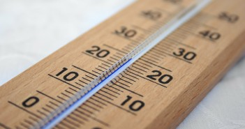 Stock photo of a thermometer. It is 24 degrees.