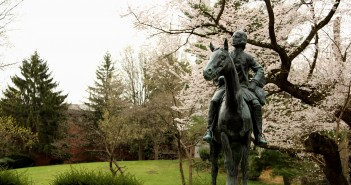 Photo of the John Wesley equestrian statue outside of the Wesley Theological Seminary