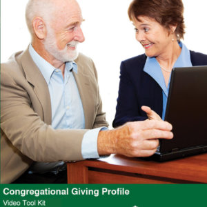 Congregational Giving Profile Video Tool Kit cover featuring two smiling people looking at a computer