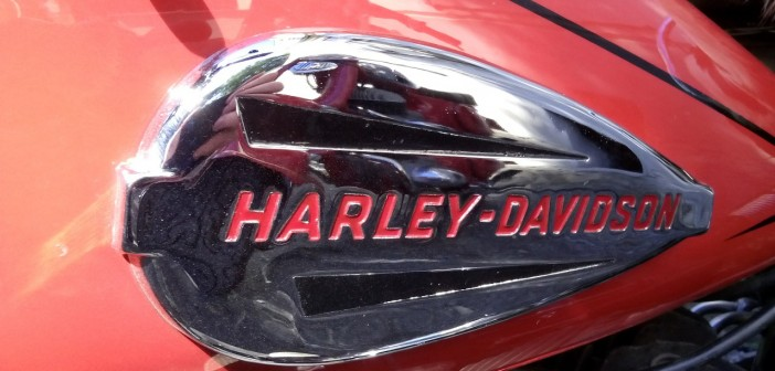 Closeup stock photo of the body of a Harley-Davidson motorcycle