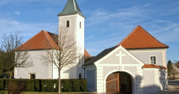 Stock photo of the exterior of a country church