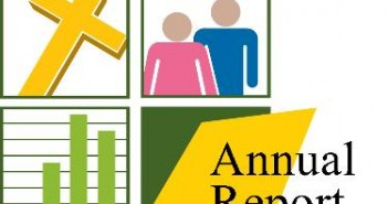 "Clip art of a cross, a man and a woman, a bar graph, and ""ANNUAL REPORT"""