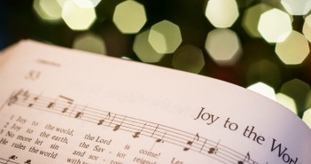 "Stock photo of a hymnal open to ""Joy to the World"""