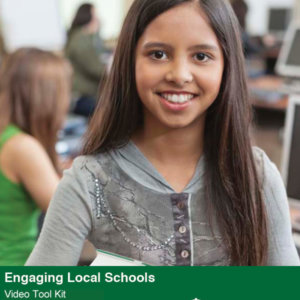 Engaging Local Schools Video Tool Kit cover featuring a smiling student holding a textbook