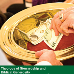 Theology of Stewardship and Biblical Generosity Video Tool Kit cover showing a hand placing money in a church offering plate