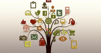 Clip art of a bunch of social media/computer logos and images on a tree
