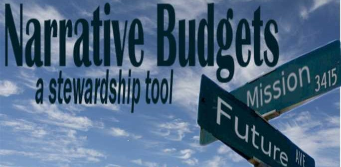 "Stock art of a street sign that says ""Mission"" and ""Future"" with the words ""NARRATIVE BUDGETS a stewardship tool"" printed in the sky"