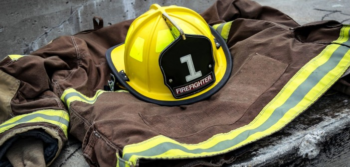 Stock photo of a firefighter's uniform on the ground