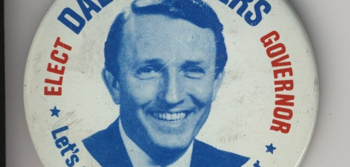 Stock photo of a campaign button for gubernatorial candidate Dale Bumpers
