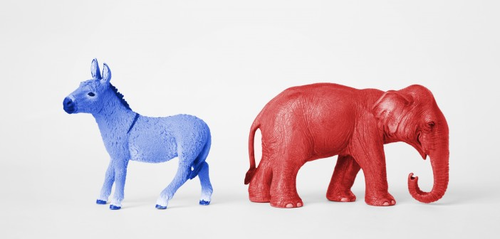 Stock photo of blue donkey and red elephant representatives of political parties
