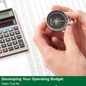 Developing Your Operating Budget Video Tool Kit cover featuring a photo of a stopwatch, ledger sheet, and calculator