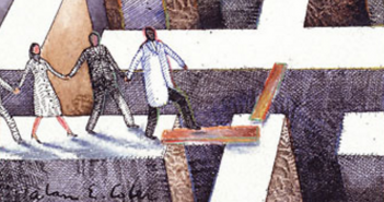 Illustration of people walking carefully over a giant and deep maze