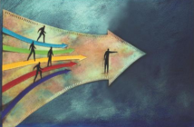 Colorful illustration of people walking along arrows