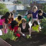 Photo of an adult and children working in an urban garden