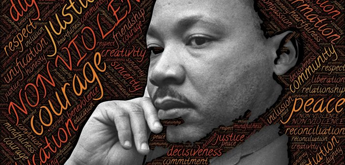 picture of Dr. Martin Luther King, Jr. in front of a word cloud