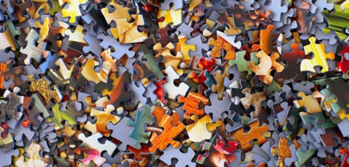 Jumbled puzzle pieces