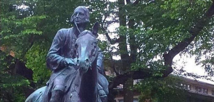 Photo of a John Wesley on horseback statue